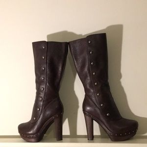 Leather Ugg High Heel Boots